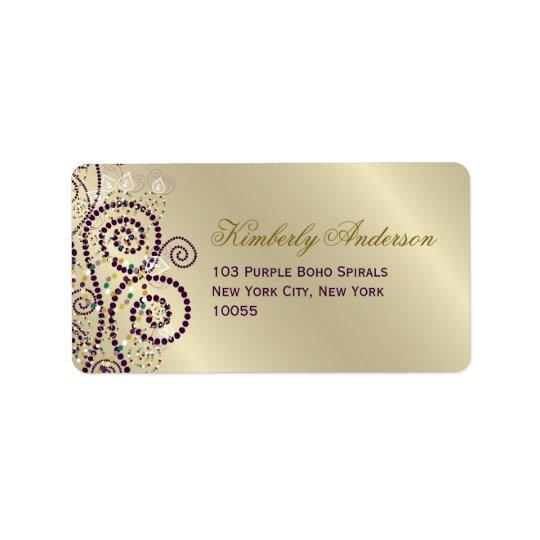 Purpurfärgad etikett för adress för bröllop för adressetikett