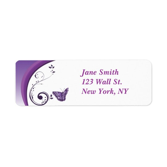 Purpurfärgad etikett för fjärilsdesignreturadress returadress etikett