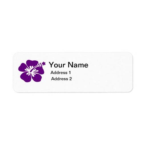 purpurfärgad etikett för hibiskusblommaadress returadress etikett