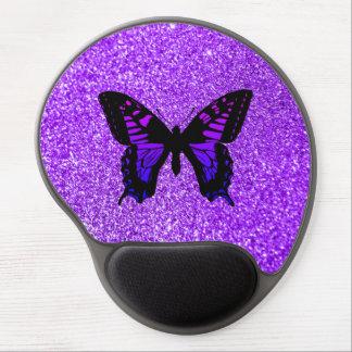 Purpurfärgad fjäril på glitter gel musmatta