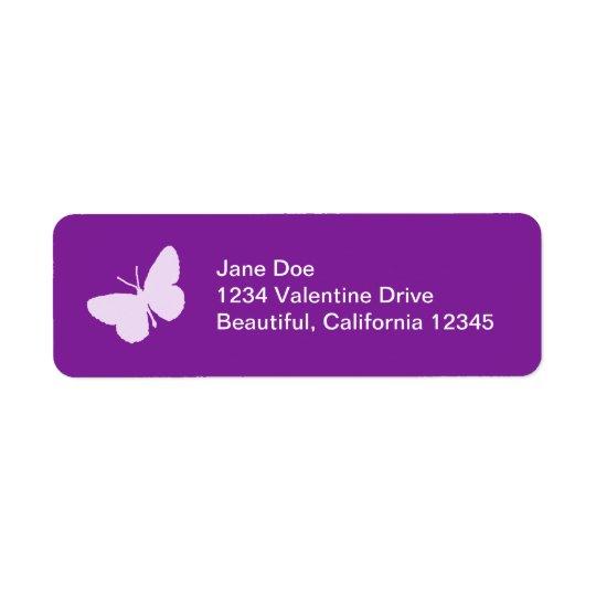 Purpurfärgad fjärilsadressetiketter returadress etikett