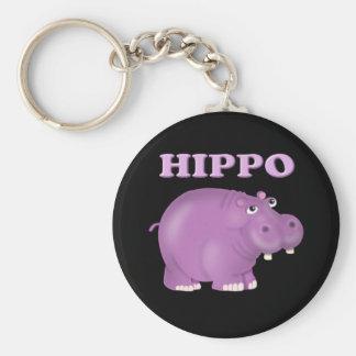 Purpurfärgad flodhäst rund nyckelring
