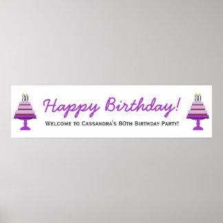 Purpurfärgad för födelsedagsfestbaner för tårta 80 poster