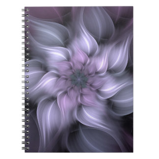 Purpurfärgad fractal anteckningsbok med spiral