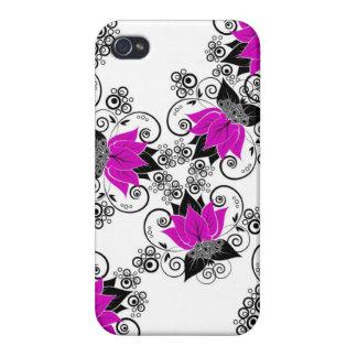 Purpurfärgad fransk damast iPhone 4 cases