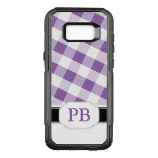 Purpurfärgad GinghamMonogramSamsung galax S8 OtterBox Commuter Samsung Galaxy S8+ Skal