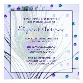 Purpurfärgad Glam födelsedagsfest för Fyrkantigt 13,3 Cm Inbjudningskort