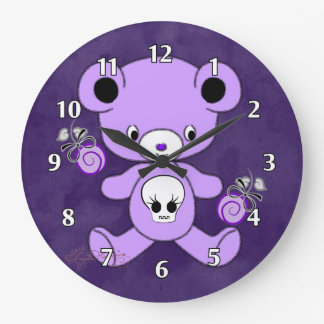 Purpurfärgad gotisk nalle stor klocka