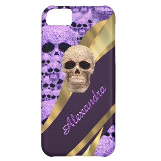 Purpurfärgad gotisk skallepersonlig iPhone 5C fodral