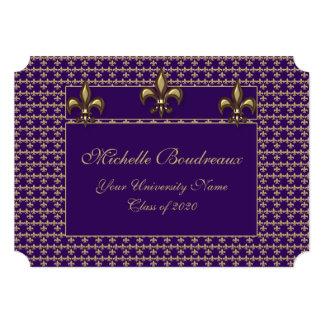 Purpurfärgad Guld Fleur de Lis Trio studenten Inbjudningskort