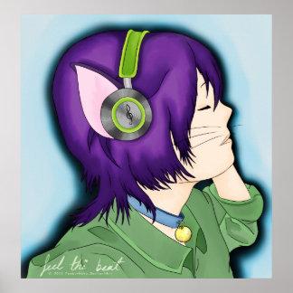 Purpurfärgad Haired kattflicka med hörlurar Poster