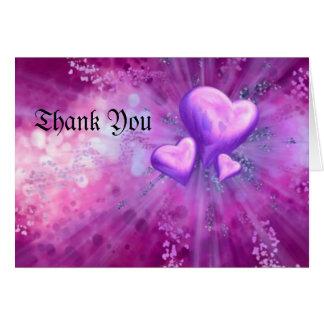purpurfärgad hjärta, tack hälsnings kort