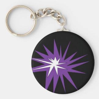 purpurfärgad kaboom rund nyckelring