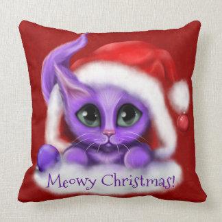 Purpurfärgad kattungeMeowy jul på rött Kudde