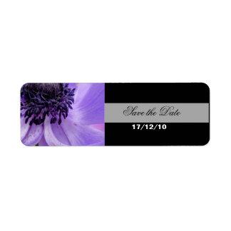 Purpurfärgad krullning returadress etikett