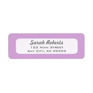 Purpurfärgad lavendelreturetiketter returadress etikett