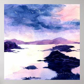 Purpurfärgad Loch Lomond akvarellaffisch Poster