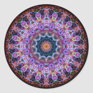Purpurfärgad lotusblommakaleidoscope runt klistermärke