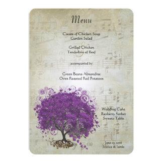 Purpurfärgad meny för bröllop för hjärtalövträd 12,7 x 17,8 cm inbjudningskort