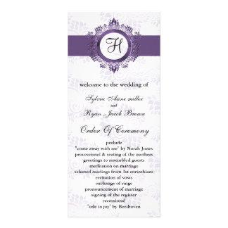 purpurfärgad monogrambröllopsprogram anpassade rackkort