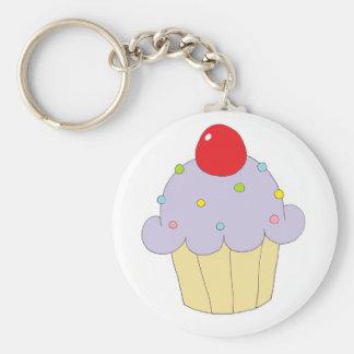 Purpurfärgad muffin rund nyckelring