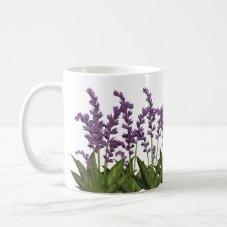 Purpurfärgad mugg för lavendelvår blommorkaffe