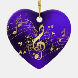 Purpurfärgad musik noter och klavjulprydnad julgransprydnad keramik