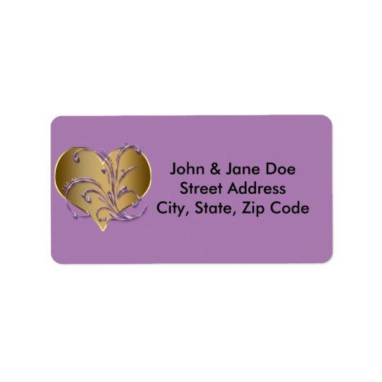 Purpurfärgad och guld- hjärta adressetikett