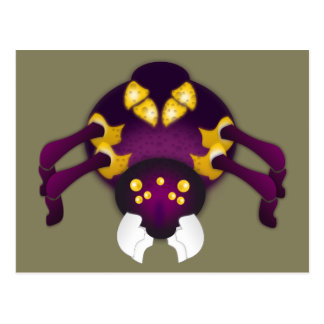 Purpurfärgad och guld- spindel vykort