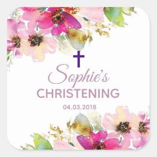 Purpurfärgad och rosa blom- fyrkantigt klistermärke