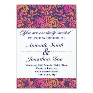 Purpurfärgad och rosa damastast bröllopinbjudan 12,7 x 17,8 cm inbjudningskort