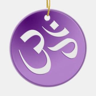 Purpurfärgad Om-symbolprydnad Julgransprydnad Keramik
