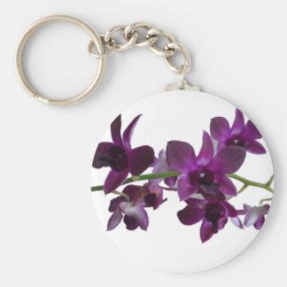 purpurfärgad orchidsprej rund nyckelring