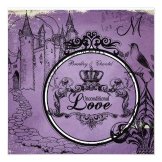 Purpurfärgad ovillkorlig kärlek för vintage som fyrkantigt 13,3 cm inbjudningskort