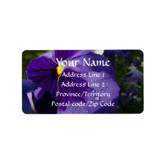 Purpurfärgad Pansy Adressetikett