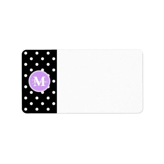 Purpurfärgad polka dots för Monogramsvartvit Adressetikett