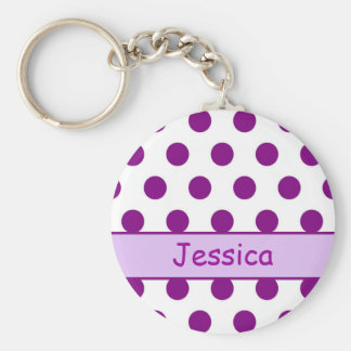 Purpurfärgad polka dots - kända Keychain Rund Nyckelring