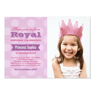 Purpurfärgad Princess för fotofödelsedagsfest 12,7 X 17,8 Cm Inbjudningskort