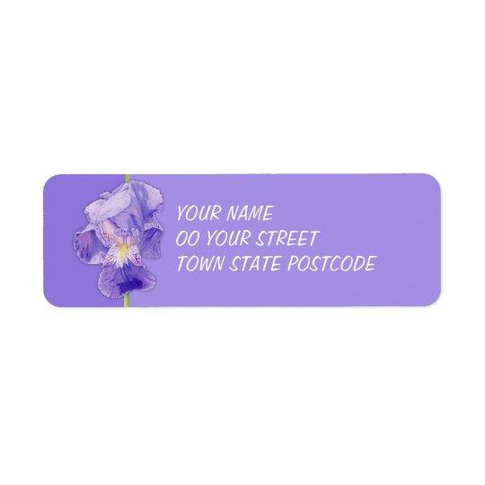 Purpurfärgad returadressetikett för purpurfärgad returadress etikett