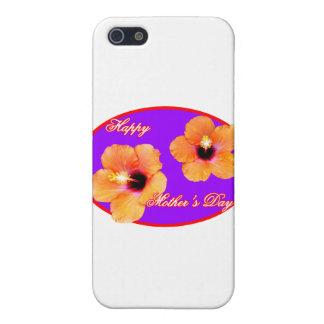 Purpurfärgad röd Oval för lycklig mors daghibiskus iPhone 5 Cases