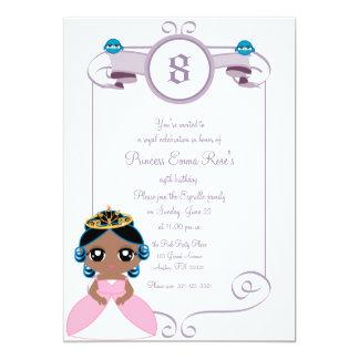 purpurfärgad & ROSA PRINCESSfödelsedagsfest 12,7 X 17,8 Cm Inbjudningskort