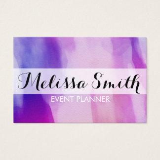 Purpurfärgad rosa visitkort för akvarellbakgrund