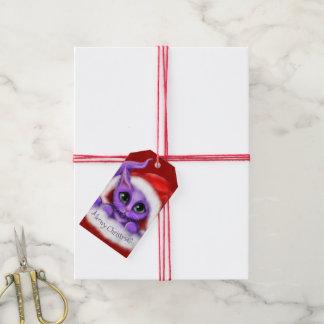 Purpurfärgad Santa kattungeMeowy jul Presentetikett