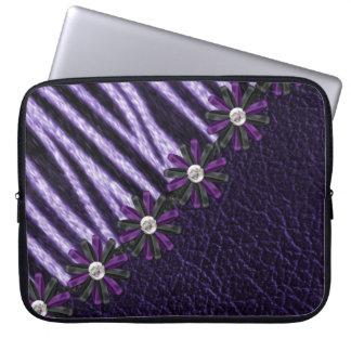 Purpurfärgad sebralaptop sleeve datorskydd