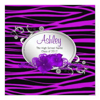 Purpurfärgad sebratillkännagivande för studenten fyrkantigt 13,3 cm inbjudningskort