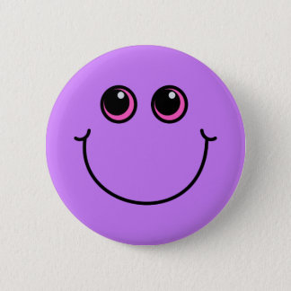Purpurfärgad smiley face standard knapp rund 5.7 cm