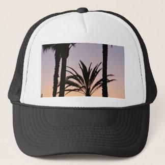 Purpurfärgad solnedgångfotografi för palmträd keps