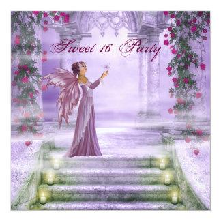 Purpurfärgad sött party 16 för Princess röd ros Fyrkantigt 13,3 Cm Inbjudningskort