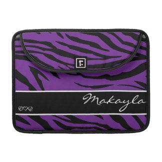 Purpurfärgad svart zebra ränder för personlig sleeves för MacBook pro