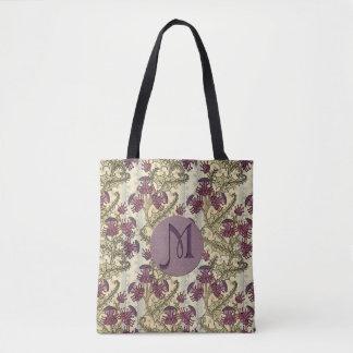 Purpurfärgad Thistleblomma för initial art nouveau Tygkasse